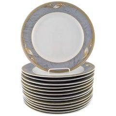 Royal Copenhagen Gray Magnolia, Large Porcelain Dinner Plate, 14 Pieces