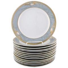 Royal Copenhagen Gray Magnolia Porcelain Lunch Plate, 14 Pieces