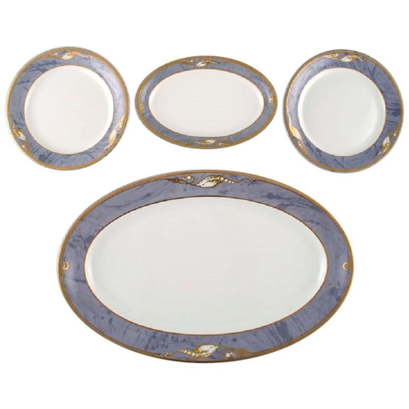 Royal Copenhagen Gray Magnolia, Two Dishes and Two Plates in Porcelain