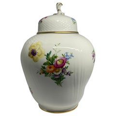 Royal Copenhagen Hand Painted Porcelain Saxon Flower Large Tea Caddy