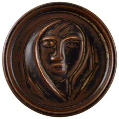Royal Copenhagen Jais Nielsen Ceramic Plaque, Brown Glaze