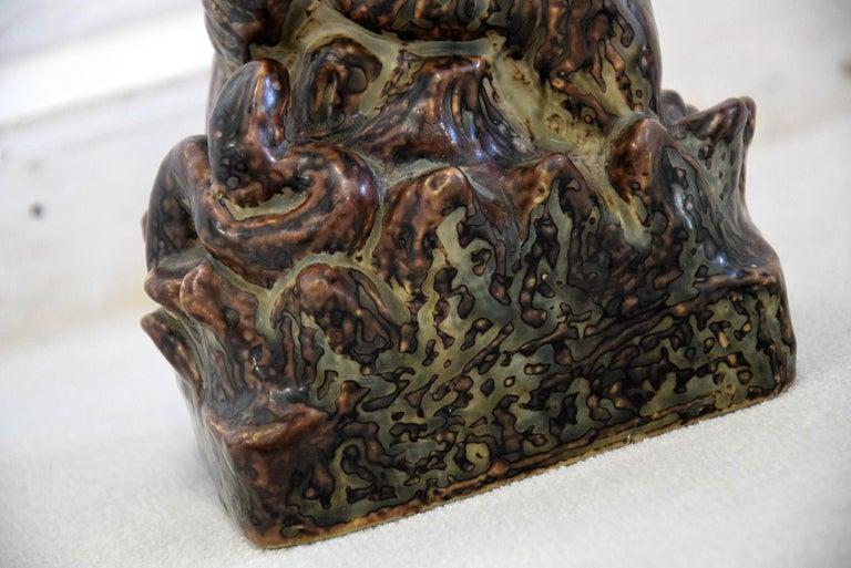 Mid-Century Modern Royal Copenhagen Knud Kyhn Glazed Stoneware Statue Bear and Attacking Snake For Sale