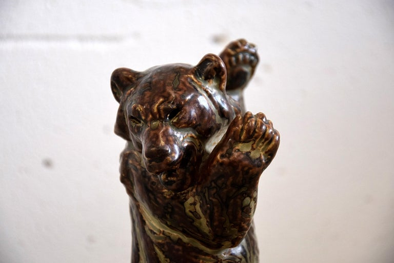 Danish Royal Copenhagen Knud Kyhn Glazed Stoneware Statue Bear and Attacking Snake For Sale