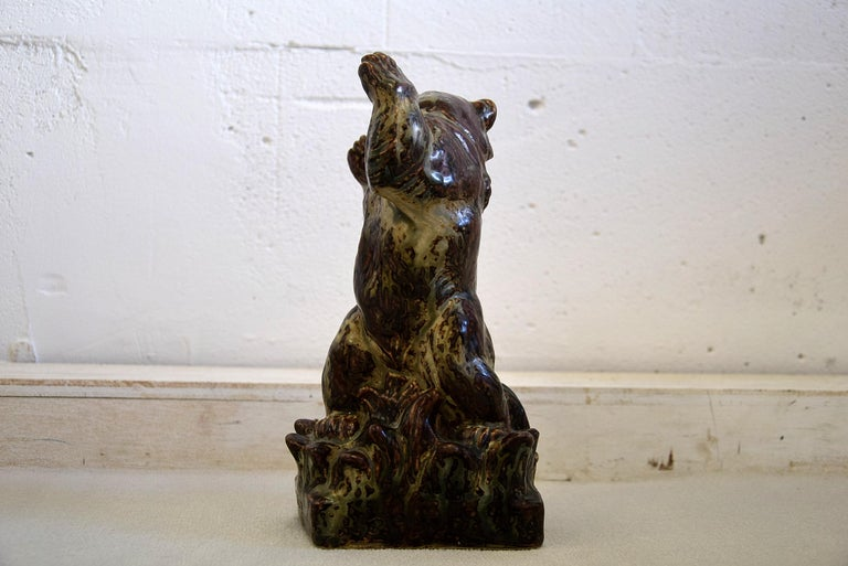 Royal Copenhagen Knud Kyhn Glazed Stoneware Statue Bear and Attacking Snake For Sale 1