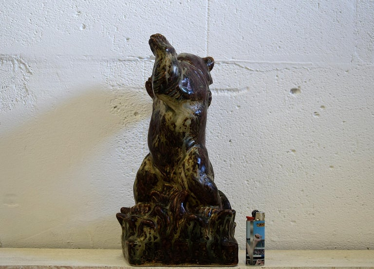 Royal Copenhagen Knud Kyhn Glazed Stoneware Statue Bear and Attacking Snake For Sale 3