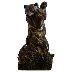 Royal Copenhagen Knud Kyhn Glazed Stoneware Statue Bear and Attacking Snake