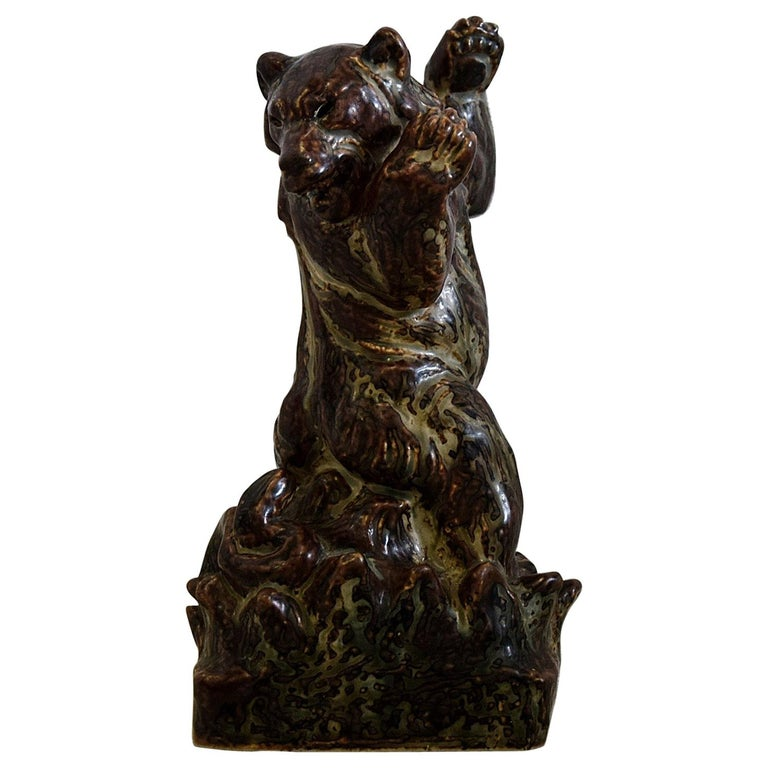 Royal Copenhagen Knud Kyhn Glazed Stoneware Statue Bear and Attacking Snake For Sale