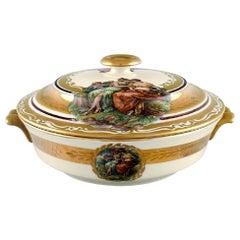 Royal Copenhagen Lidded Tureen in Porcelain with Romantic Scenes