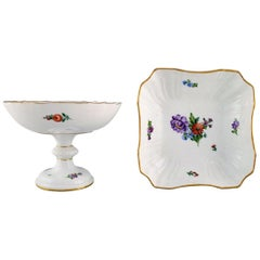 Royal Copenhagen Light Saxon Flower, Compote and Bowl in Hand Painted Porcelain
