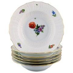 Royal Copenhagen Light Saxon Flower, Six Deep Plates in Hand Painted Porcelain