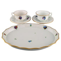 Royal Copenhagen Light Saxon Flower, Two Coffee Cups with Saucers and Tray