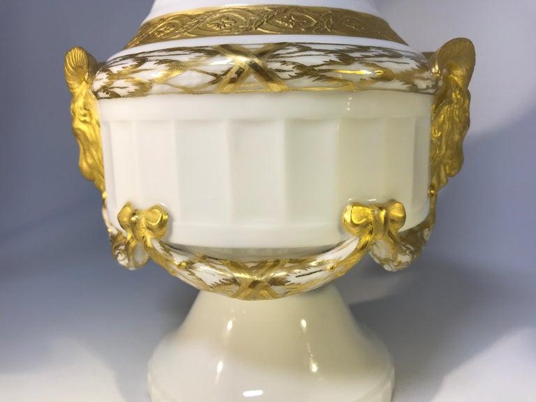 Gilt Royal Copenhagen Louis XVI St. 1900s White Porcelain and Gilded Rams Lamp #11537 For Sale