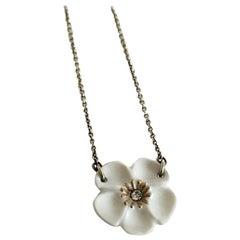 Royal Copenhagen Necklace with Flower Pendant in Porcelain