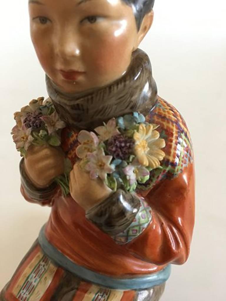 Art Nouveau Royal Copenhagen Over-Glaze Figurine Greenland Girl #12415 For Sale