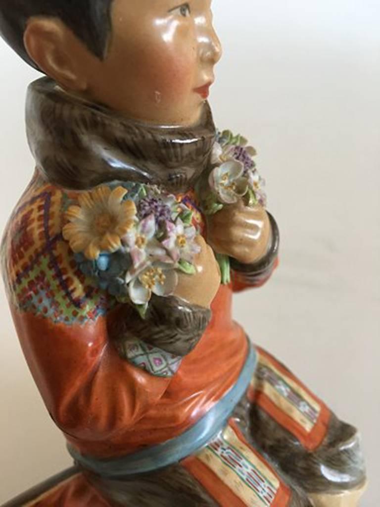 Danish Royal Copenhagen Over-Glaze Figurine Greenland Girl #12415 For Sale