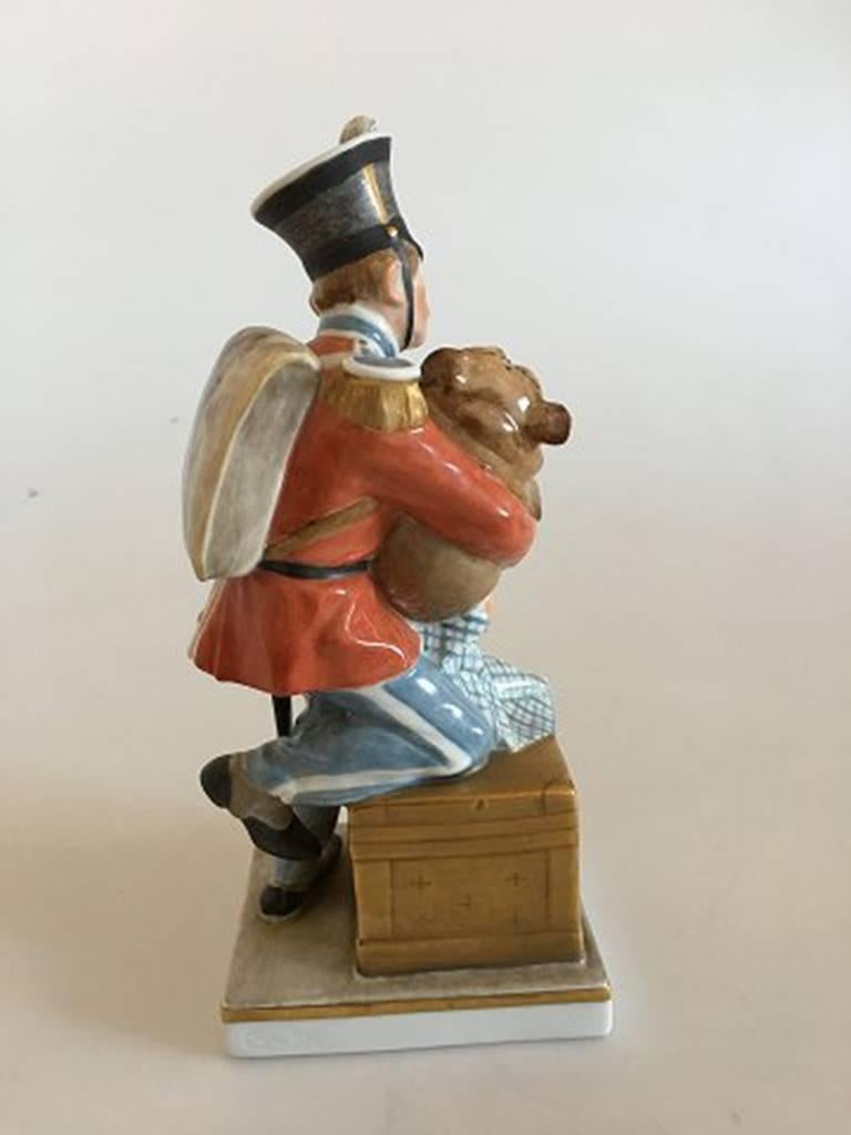 Art Nouveau Royal Copenhagen over Glaze Figurine Soldier with Dog Tinderbox #1156 For Sale