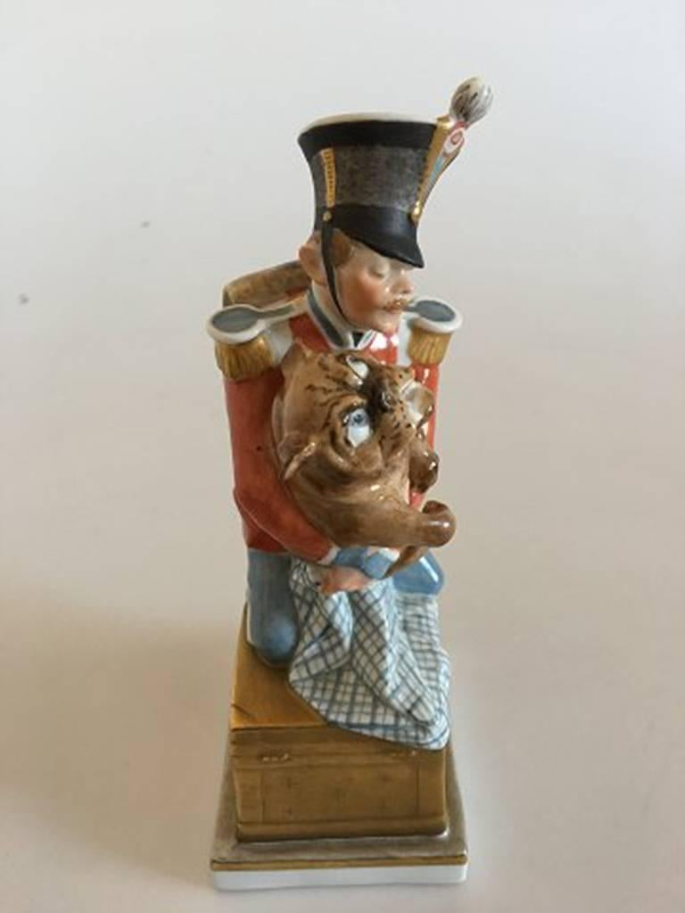 Danish Royal Copenhagen over Glaze Figurine Soldier with Dog Tinderbox #1156 For Sale