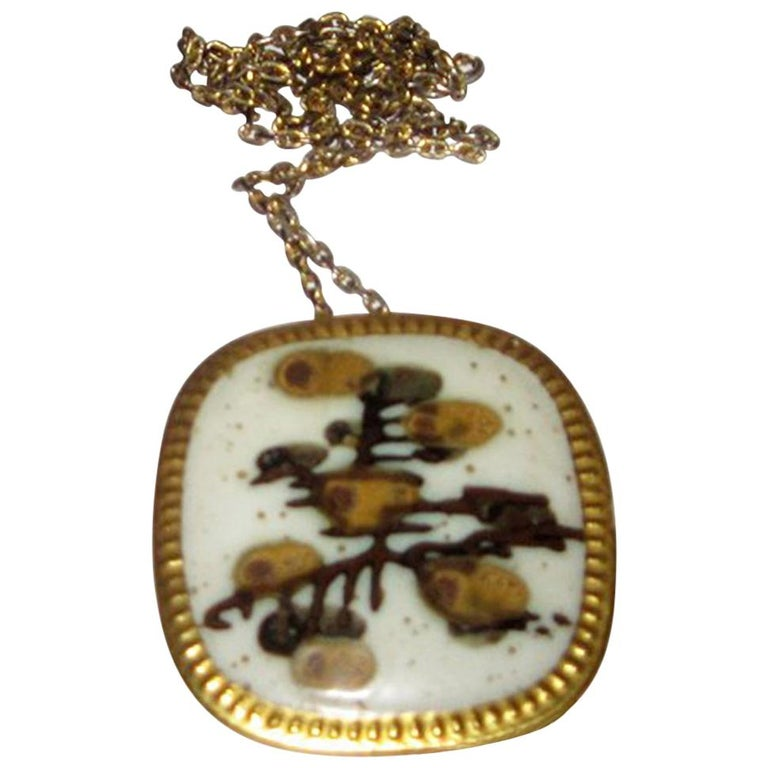 Royal Copenhagen Pendent in Porcelain and Sterling Silver by Nils Thorsson For Sale