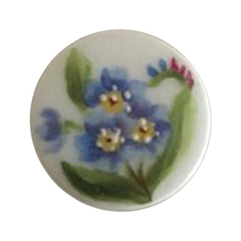 Royal Copenhagen Porcelain Button with Hand-Painted Flower Motif For Sale