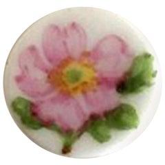Royal Copenhagen Porcelain Button with Hand-Painted Flower Motif