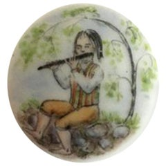Royal Copenhagen Porcelain Button with Hand-Painted Motif of Musician
