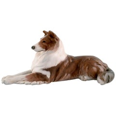 Royal Copenhagen Porcelain Figurine, Lying Collie, 1920s