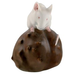 Royal Copenhagen Porcelain Figurine, Mouse on a Chestnut, Early 20th Century