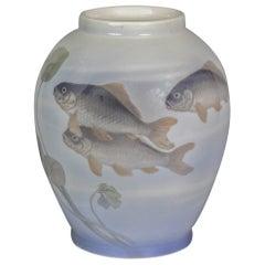 Royal Copenhagen Porcelain Fish Vase, Circa 1920