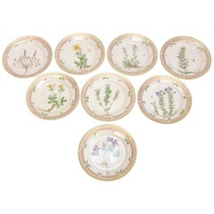Royal Copenhagen Porcelain Hand-Painted Bread and Butter Plates in Flora Danica