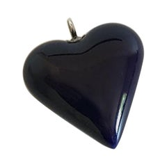 Royal Copenhagen Royal Navy Blue Heart Pendant in Porcelain