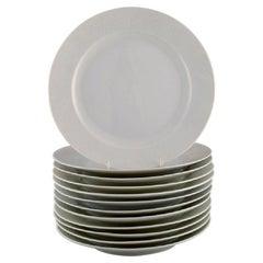 Royal Copenhagen, Salto Service, White, Twelve Dinner Plates, 1960s