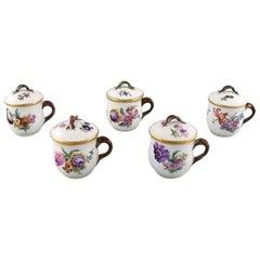 Royal Copenhagen Saxon Flower, Five Porcelain Cream Cups