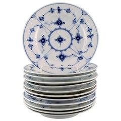 Royal Copenhagen, Set of 12 Blue Fluted Plain Plates