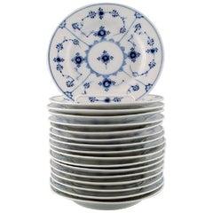 Royal Copenhagen, Set of 17 Blue Fluted Plain Plate # 1/181