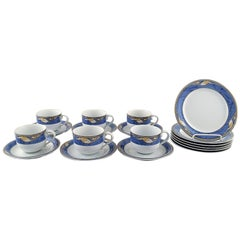 """Royal Copenhagen, Set of Six """"Magnolia"""" Coffee Cups with Saucers and Six Plates"""