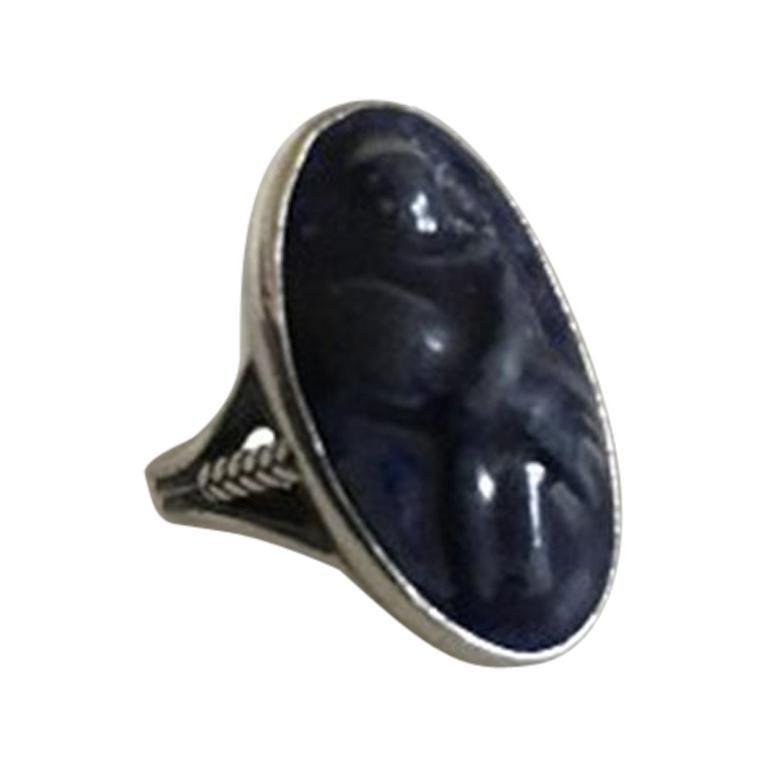 Royal Copenhagen Silver Ring with Jais Nielsen Ceramic Ornament For Sale