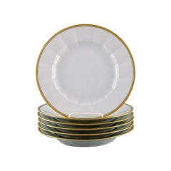 Royal Copenhagen, Six Dinner Plates in Porcelain with Gold Border