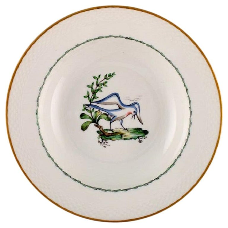 Royal Copenhagen Soup Plate in Hand Painted Porcelain, 17 Pcs in Stock For Sale