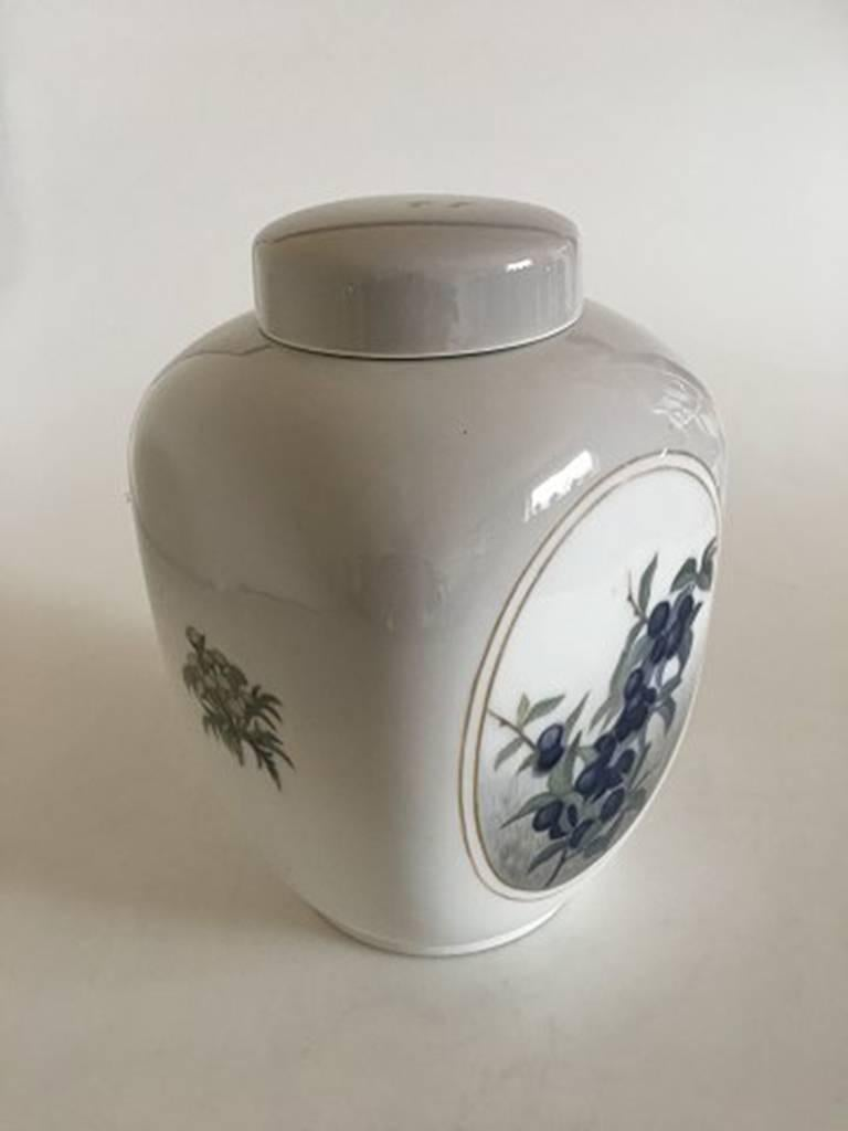Royal Copenhagen square Art Nouveau unique vase with lid. Measures: 23 cm H (9 1/16 inches). First quality. In nice whole condition. Unknown artist, Signed