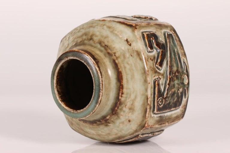 Danish Royal Copenhagen Square Stoneware Vase by Jørgen Mogensen, Denmark Midcentury For Sale