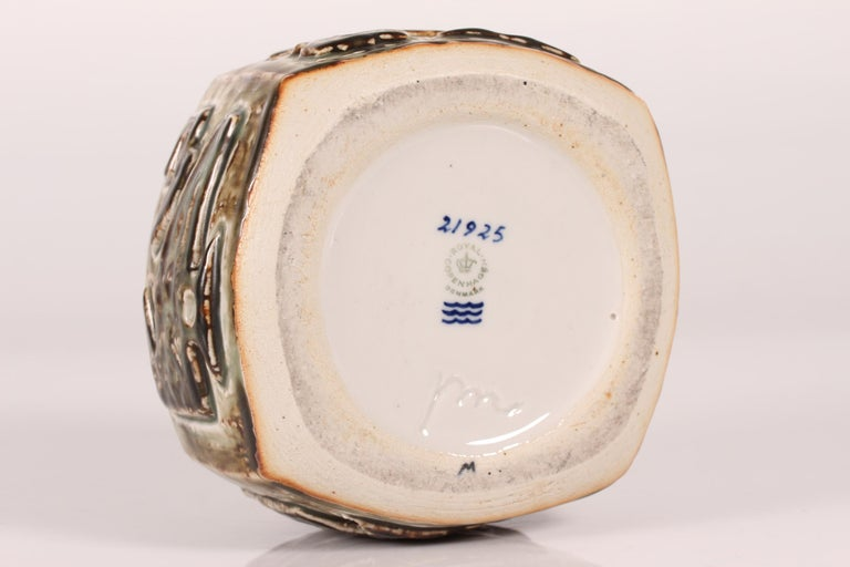 Glazed Royal Copenhagen Square Stoneware Vase by Jørgen Mogensen, Denmark Midcentury For Sale