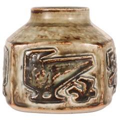 Royal Copenhagen Square Stoneware Vase by Jørgen Mogensen, Denmark Midcentury