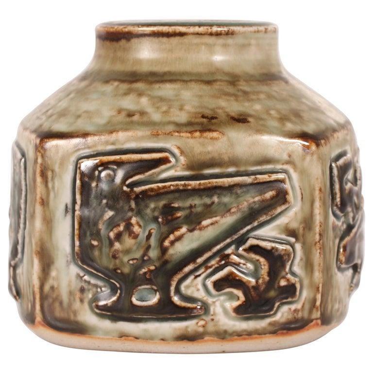Royal Copenhagen Square Stoneware Vase by Jørgen Mogensen, Denmark Midcentury For Sale