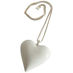 Royal Copenhagen Sterling Silver Necklace with White Porcelain Heart Pendant