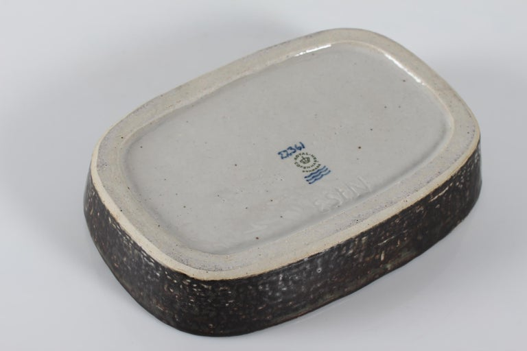 Glazed Royal Copenhagen Stoneware Dish by Eva Stæhr-Nielsen No. 22361, circa 1969 For Sale