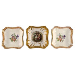 Royal Copenhagen, Three Bowls with Flowers and Romantic Scenes, 20th Century