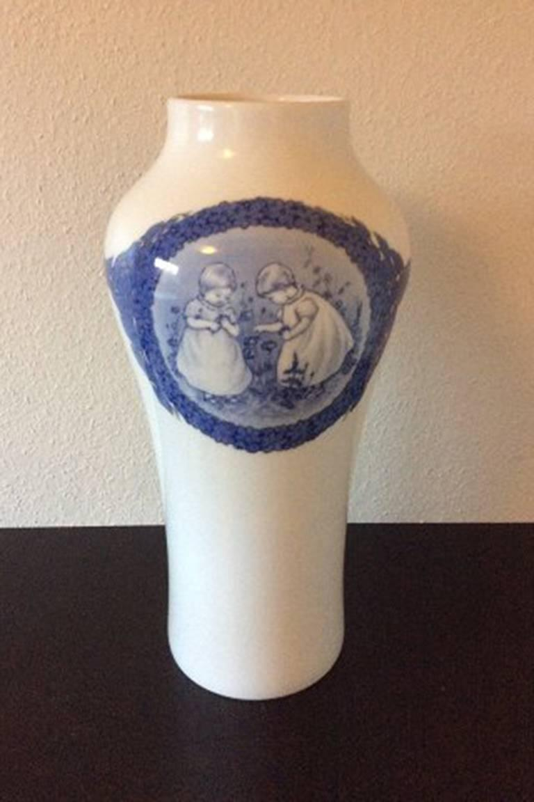 Royal Copenhagen unique vase by Cathrine Zernichow from 1917 with motif of children.  Measures 53cm/ 20 7/8 inches high  In perfect condition.