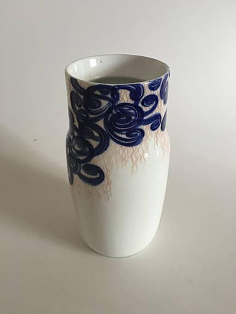 Royal Copenhagen unique vase by Svend Hammershøj from 1895 #4803.  Measures: 24.5 cm tall (9 41/64 inches). Perimeter 40 cm (15 3/4 inches).