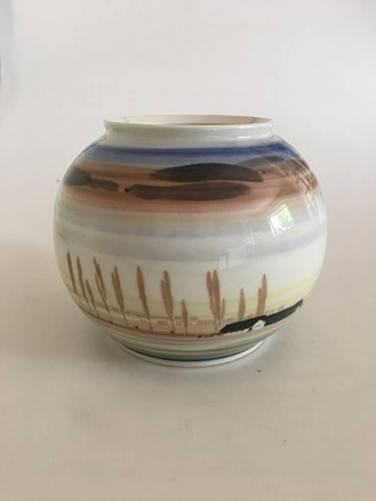 Royal Copenhagen vase. Signed 2/4 - 81. First quality. Measures: 14.5 cm H (5 45/64 inches). 18 cm H (7 3/32 inches).