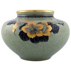 Royal Copenhagen Vase in Crackled Porcelain with Gold Decoration, 1920s